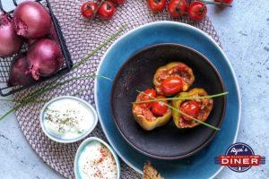Gefüllte Paprika mit Hack und Reis
