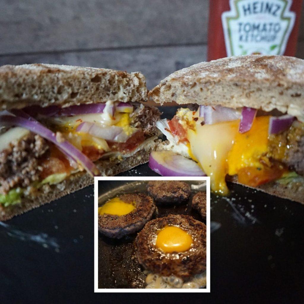 Cheeseburger mit Ei im Patty