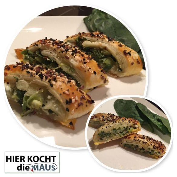 Feta-Spinat Strudel aus Blätterteig
