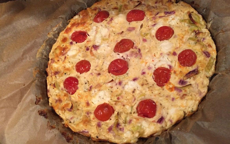 Gemüse Frittata mit Lauch und Feta
