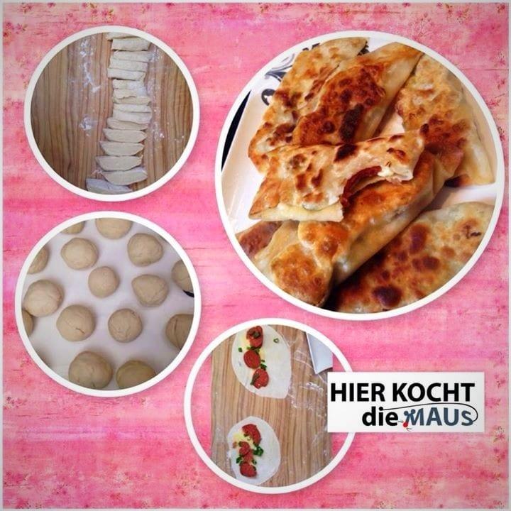 Gözleme-Pfannenbörek mit Sucuk und Käse