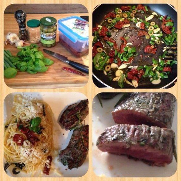 Schnelle Spaghetti aglio e olio und Lammrücken