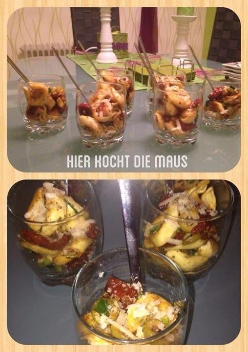 Tortellini-Salat im Glas als Party Snack