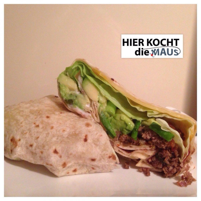 Wrap mit Hack-Avocado-Feigensenf
