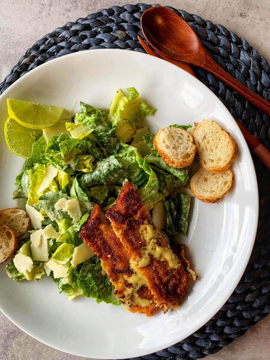 caesar salad mit hähnchen