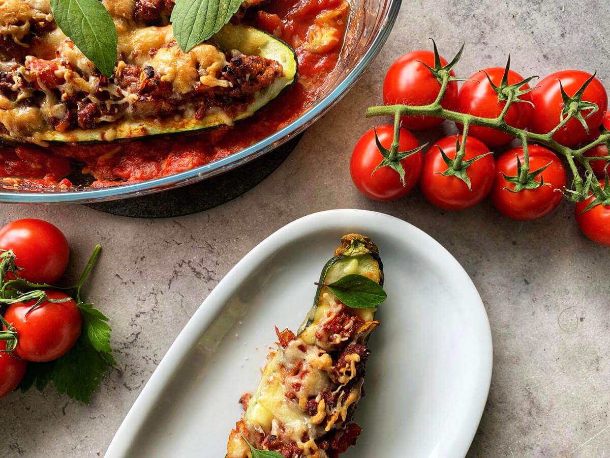 rezept gefüllte zucchini-hackfleisch
